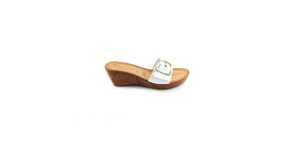 Dámské bílé kožené pantofle Miss Butterfly