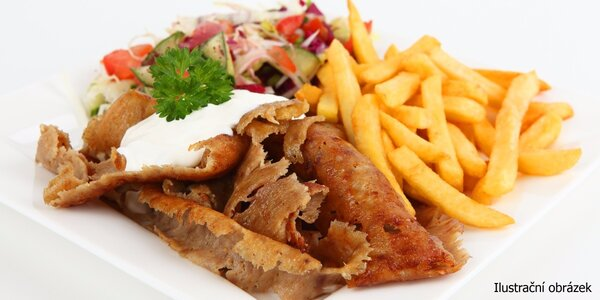 Kebab talíř plný dobrot s hranolky + nápoj