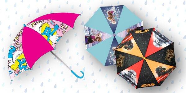 Dětský deštník s potiskem pohádkových postaviček