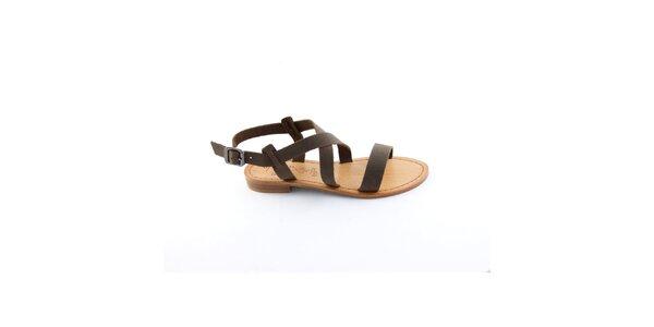 Dámské tmavě hnědé páskové sandály Miss Butterfly