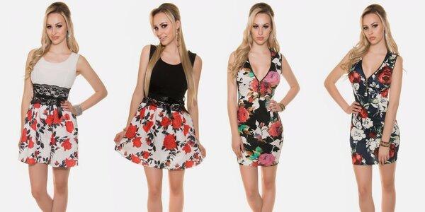 Parádní květované šaty nad kolena