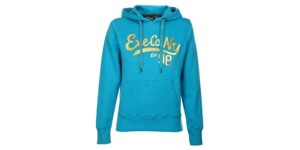 Dámská azurově modrá mikina Exe Jeans s kapucí a zlatým potiskem