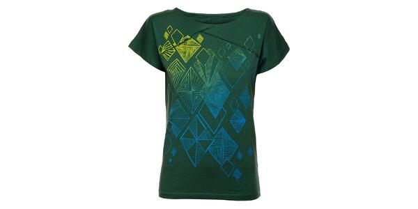Dámské zelené triko Exe Jeans s modro-žlutým potiskem