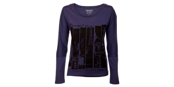 Dámské fialové tričko Exe Jeans s černým potiskem