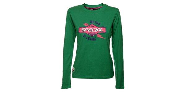 Dámské zelené tričko Exe Jeans s potiskem