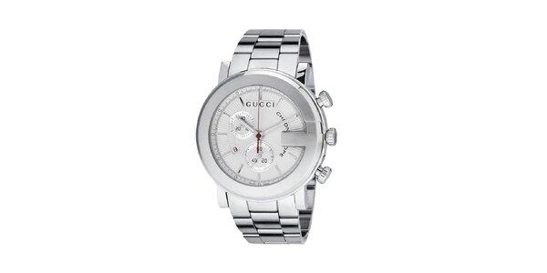 Luxusní pánské stříbrné hodinky Gucci Chrono s bílým ciferníkem