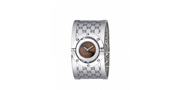 Luxusní dámské stříbrné hodinky Gucci Twirl