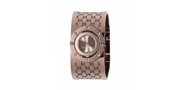 Luxusní dámské hnědé hodinky Gucci Twirl