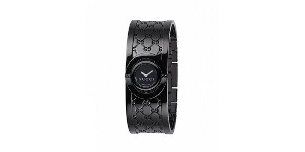 Luxusní dámské černé hodinky Gucci Twirl úzké