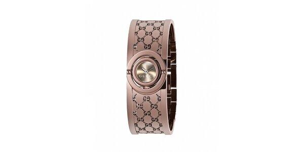 Luxusní dámské hnědé hodinky Gucci Twirl úzké