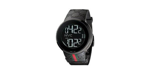 Luxusní pánské černé hodinky Gucci I-Gucci se zeleno-červeným zdobením