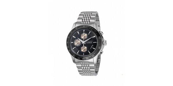 Luxusní pánské stříbrné hodinky Gucci s tachymetrem
