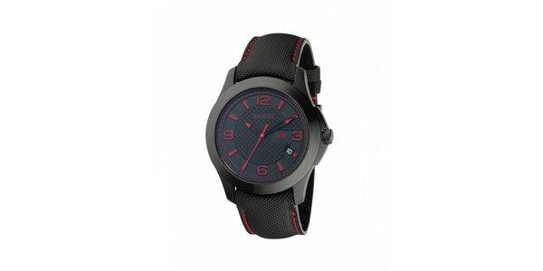 Luxusní pánské černé hodinky Gucci s chronografem a červenými detaily