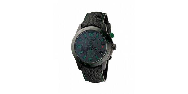 Luxusní pánské černé hodinky Gucci s chronografem a zelenými detaily