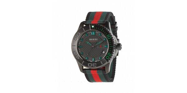 Luxusní pánské černé hodinky Gucci s barevným páskem