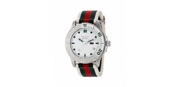 Luxusní pánské bílé hodinky Gucci s barevným páskem