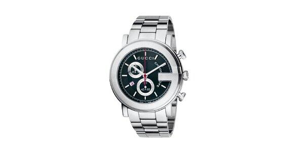 Luxusní pánské stříbrné hodinky Gucci Chrono s černým ciferníkem