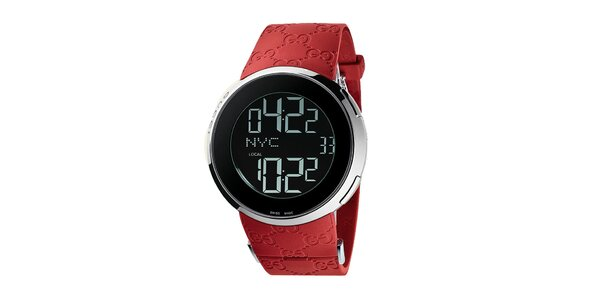 Luxusní pánské červené hodinky Gucci I-Gucci