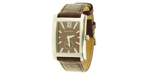 Pánské hnědé analogové hodinky Marc O´Polo