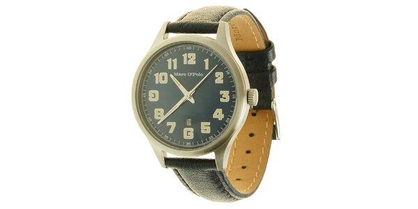 Pánské modré analogové hodinky s koženým páskem Marc O´Polo