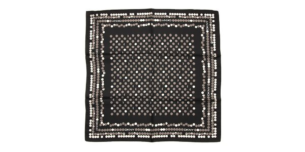 Luxusní hedvábný šátek DKNY s putníky v černé barvě