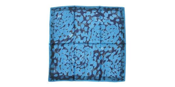 Luxusní hedvábný šátek DKNY v modré barvě