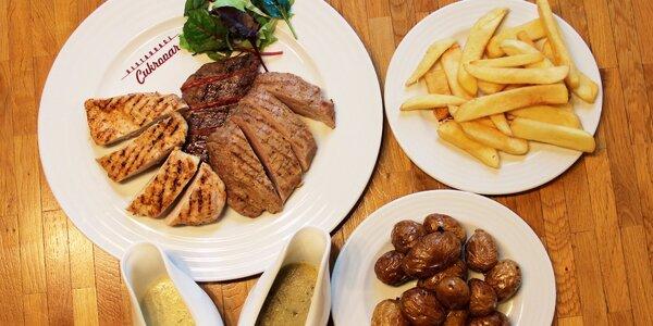 Menu pro dva - 550 g grilovaných steaků s přílohou