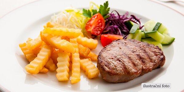 2 kotlety, příloha, zelenina z grilu a dezert