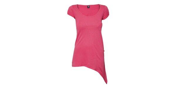 Dámské růžové tričko Timeout s prodlouženým spodním lemem