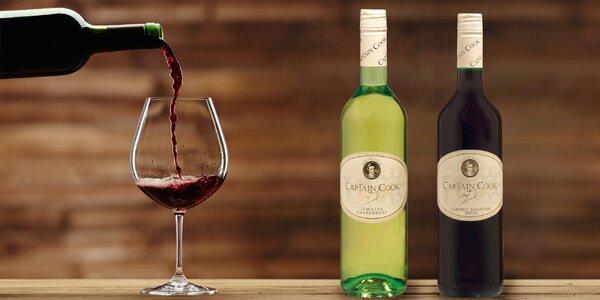 6 lahví suchého vína Captain Cook z Austrálie