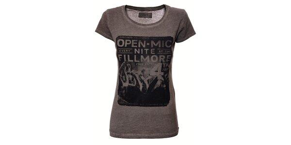 Dámské tmavě šedé tričko Timeout s černým potiskem