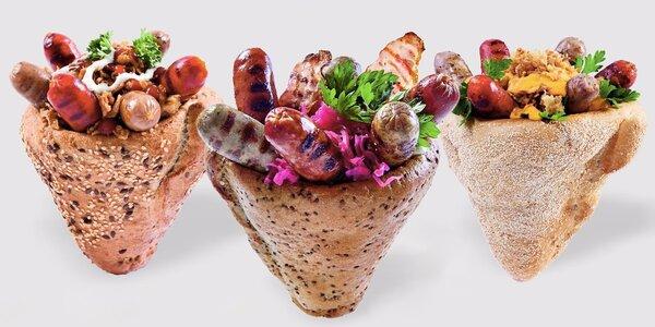 Maďarská specialita Kolbice: Klobásy v kornoutu