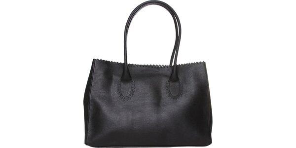 Dámská černá kožená kabelka Made in Italia s ozdobným lemem