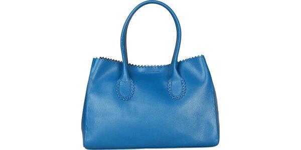 Dámská světle modrá kožená kabelka Made in Italia s ozdobným lemem