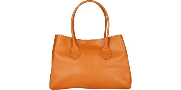 Dámská velbloudí kožená kabelka Made in Italia s ozdobným lemem