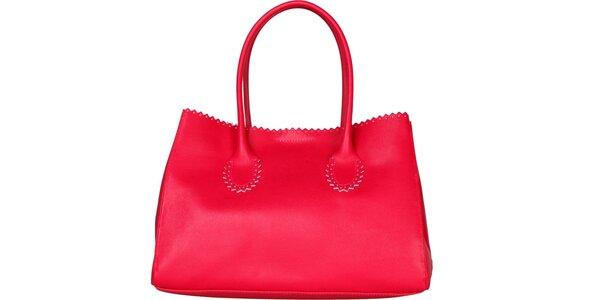 Dámská fuchsiová kožená kabelka Made in Italia s ozdobným lemem