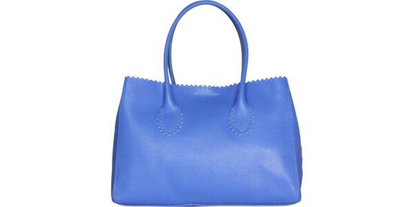 Dámská pastelově modrá kožená kabelka Made in Italia s ozdobným lemem