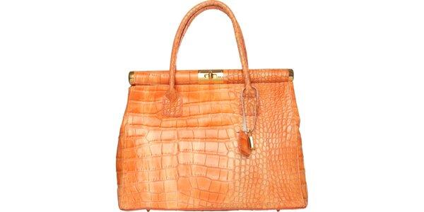 Dámská oranžová kabelka Made in Italia s motivem hadí kůže
