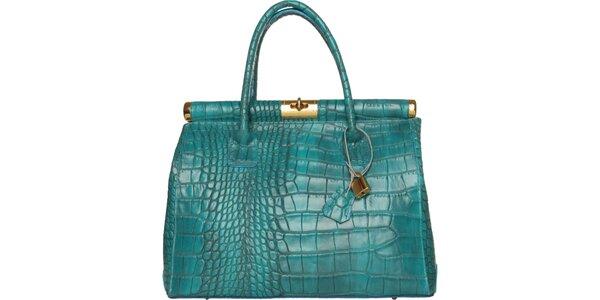 Dámská tyrkysová kožená kabelka Made in Italia s ozdobným lemem