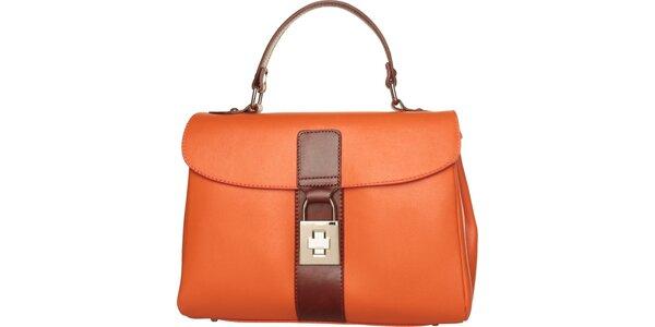 Dámská oranžová kabelka Made in Italia s hnědými detaily