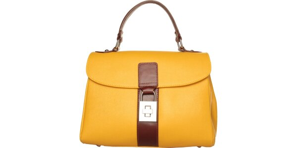 Dámská kanárkově žlutá kabelka Made in Italia s hnědými detaily
