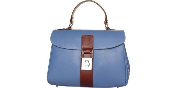 Dámská pastelově modrá kabelka Made in Italia s hnědými detaily