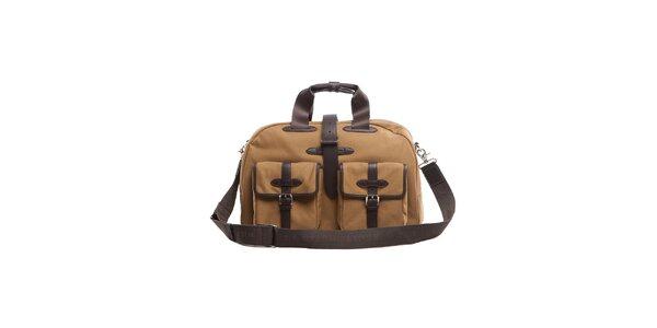 Béžovo-hnědá taška s koženými detaily Tommy Hilfiger