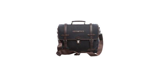 Černo-hnědá luxusní taška s koženými prvky Tommy Hilfiger