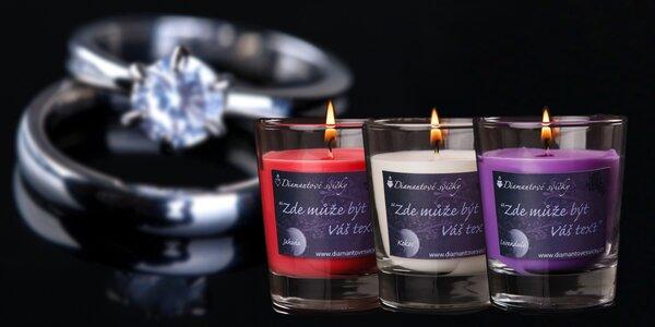Vonné svíčky s prstenem a vlastním textem