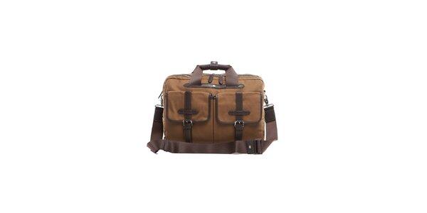 Béžovo-hnědá látkovo-kožená taška na PC se dvěma zipy Tommy Hilfiger 35fccaedfb