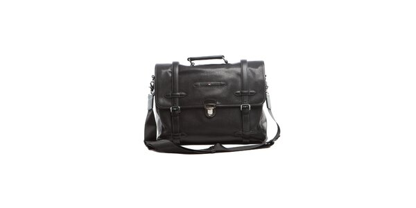 Černá kožená taška Tommy Hilfiger
