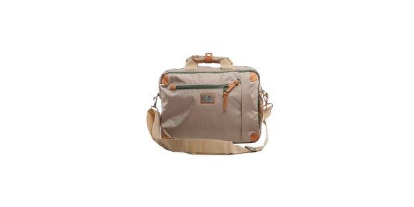 Béžová taška na notebook Tommy Hilfiger