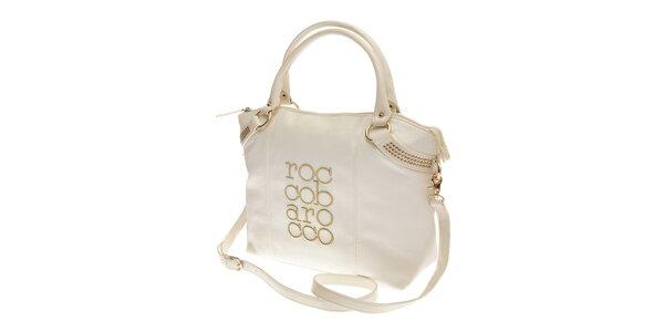 Dámská bílá kabelka Roccobarocco se zlatou výšivkou
