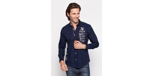 Pánská tmavě modrá košile Giorgio di Mare s potiskem